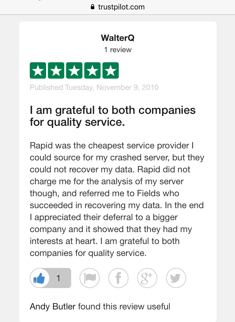 Fake Fields Review on TrustPilot WalterQ