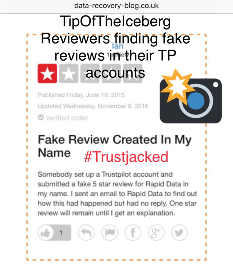 Reviewers finding fake reviews posted in their name